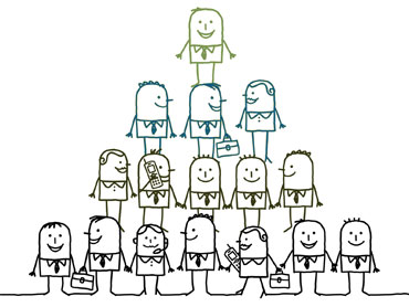 Illustrated characters pyramid
